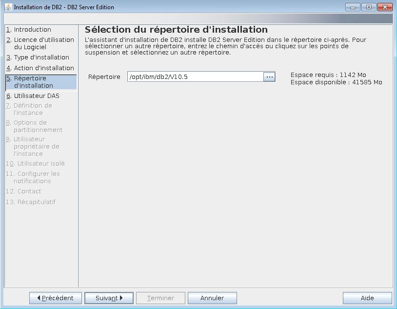 db2 sur le répertoire d'installation de Linux